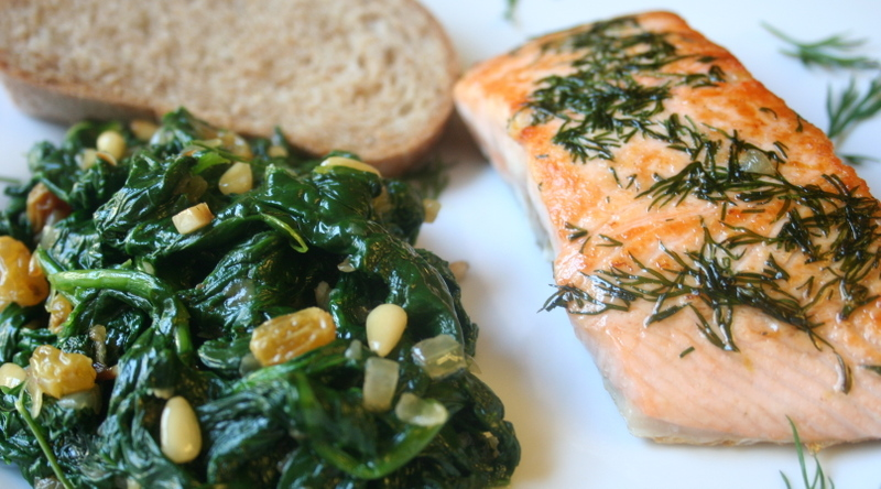 ... Eat?: Dilled Salmon With Spinach Sauteed With Pine Nuts And Raisins