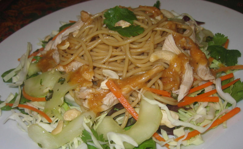 ... Chinese Chicken Salad with Sesame Noodles and Rice Vinegar Cucumbers